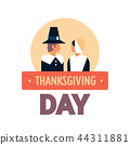 native american couple thanksgiving day concept greeting card man woman wearing traditional clothes 44311881