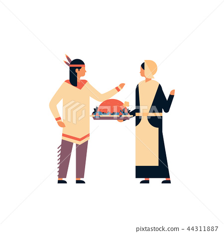 native american indian couple celebrating thanksgiving day concept woman holding turkey man lady 44311887