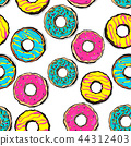 Glazed doughnut seamless pattern pop art 44312403