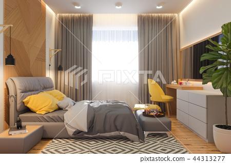 3d illustration of bedroom interior design concept in scandinavian style 44313277