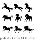 Horse Animal Silhouette Black Icon Vector 44315012