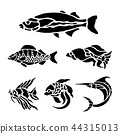 Fish Animal Aquatic Black Silhouette Vector 44315013