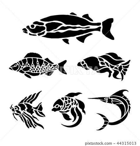 Fish Animal Aquatic Black Silhouette Vector 44315013