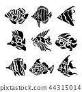 Fish Animal Aquatic Black Silhouette Vector 44315014