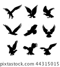 Eagle Falcon Bird Hawk Animal Black Icon Vector 44315015