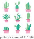 Cactus Icon Element Plants Pot Flower Vector 44315804