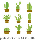 Cactus Icon Element Plants Pot Flower Vector 44315806