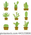 Cactus Icon Element Plants Pot Flower Vector 44315806