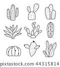 Cactus Icon Element Plants Pot Flower Line Vector 44315814