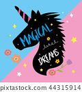 Unicorns Horse Cute Dream Fantasy Cartoon Vector 44315914