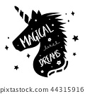 Unicorns Horse Cute Dream Fantasy Cartoon Vector 44315916