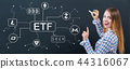 Cryptocurrency ETF theme with young woman 44316067