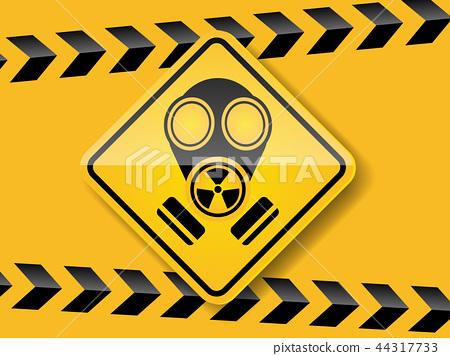gas mask warning on yellow background 44317733