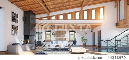 modern chalet interior. 44318979