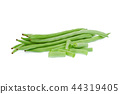 green beans with slices isolated on white  44319405