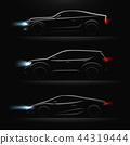 Realistic Car Profile Dark Icon Set 44319444