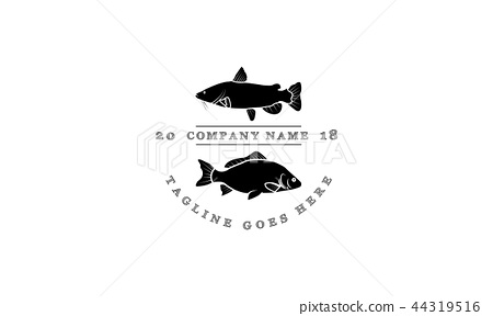 The logo shows carp and catfish. The logo is in retro style. 44319516
