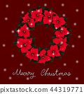 Red Poinsettia Wreath and White Snow Christmas 44319771