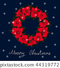 Red Poinsettia Wreath and White Snow Christmas 44319772