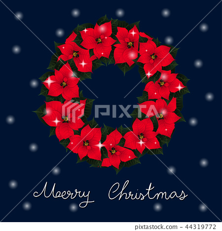 Red Poinsettia Wreath and White Snow Christmas 44319772