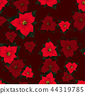 Red Poinsettia Seamless on Red Background 44319785