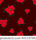 Red Poinsettia Seamless on Red Background 44319786