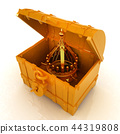 Gold crown in a chest. 3d render 44319808