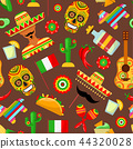 pattern with traditional Mexican attributes 44320028