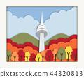 Korean architecture Seoul tower in Autumn 44320813