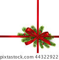 Shiny red satin ribbon on white background. Vector red bow and ribbon. 44322922