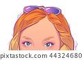 Blonde girl green eyes summer illustration design 44324680