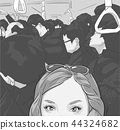 Tourist girl on Tokyo metro illustration 44324682