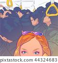 Tourist girl on Tokyo metro illustration 44324683