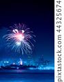 夜景 焰火表演 烟火表演 44325674