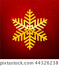 Snow flake with glittering over dark red  44326238