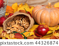autumn harvest - fruits and vegetables on leaves 44326874