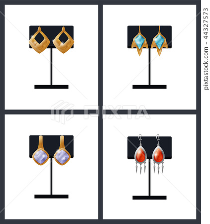 Set Expensive Earrings on Stands Vector Accessory 44327573