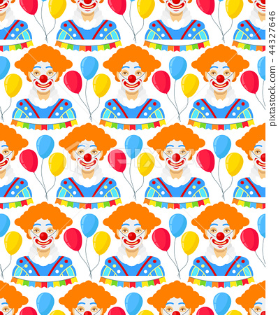 with clowns and colorfull balloons 44327646