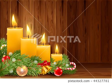 Christmas burning candles 44327781