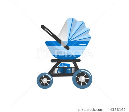 Illustration of Blue Baby stroller for baby boy with bag. Vector icon. 44328162