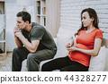 Man Smoking Cigarette. Depressed. Husband. Belly. 44328277