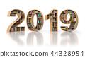 2019 new year education concept. Bookshelvs 44328954