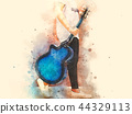Guitar in the foreground on Watercolor painting 44329113