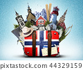 Norway, retro suitcase with hat and Norwegian  44329159