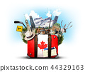 Canada, retro suitcase with hat and canadian 44329163