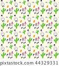 Alpaca and Cactus vector seamless pattern 44329331