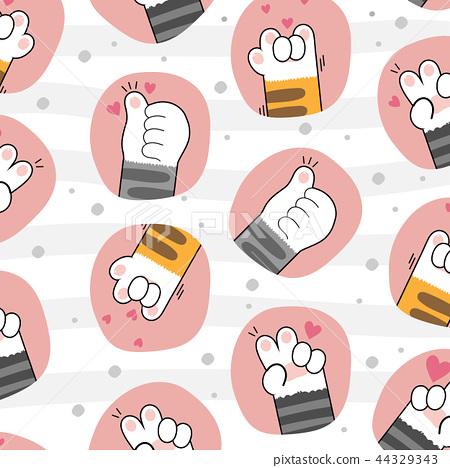 cute cat paws wallpaper vector illustration 44329343