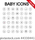 Baby toys, feeding and care. Universal Icons. Vector. Editable Thin line. 44330441