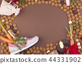 Dutch holiday Sinterklaas background with pepernoten.Traditional sweets and gifts for children for 44331902