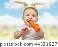 Cute little baby in bunny hat with carrot 44331927